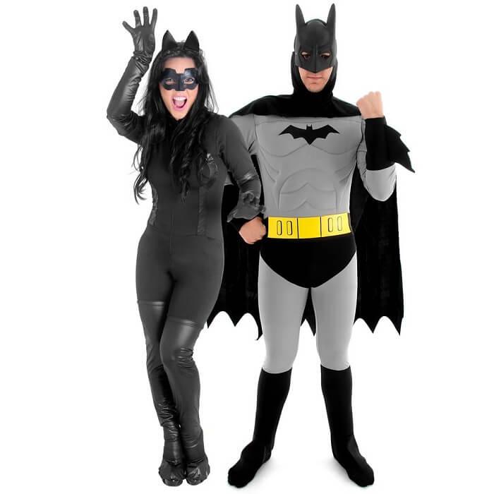 Fantasia de carnaval para casal Batman e Mulher-Gato