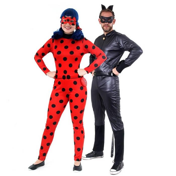 Fantasial de casal para carnaval Ladybug e Catnoir