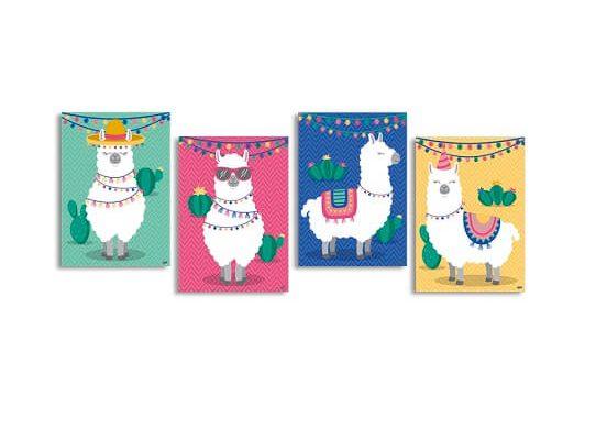 Quatro painéis decorativos de lhamas